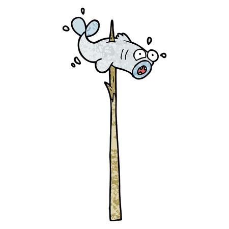 speared fish cartoon