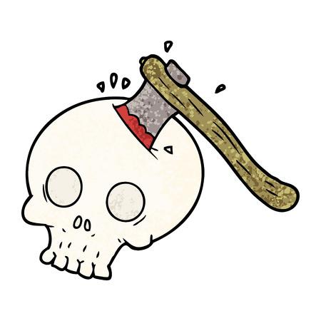 プレーンな背景に隔離された頭蓋骨の漫画の斧。
