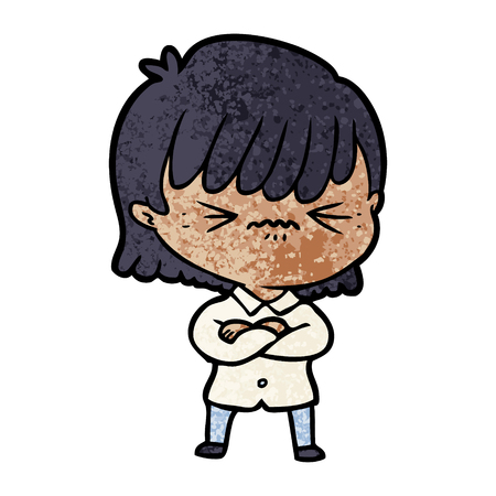 A annoyed cartoon girl isolated on plain background.
