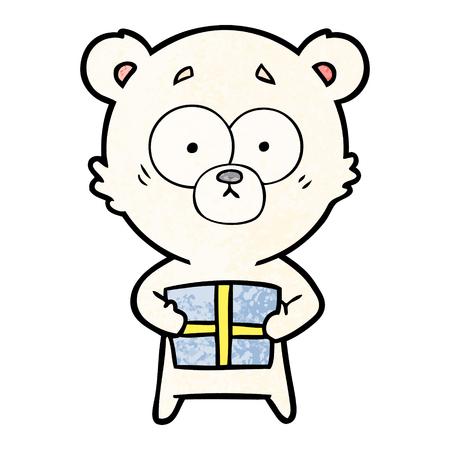 A nervous polar bear cartoon with gift isolated on plain background. Illustration