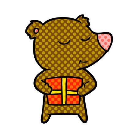 A bear cartoon chraracter with present isolated on plain background.