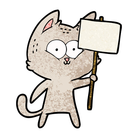 cartoon cat with placard
