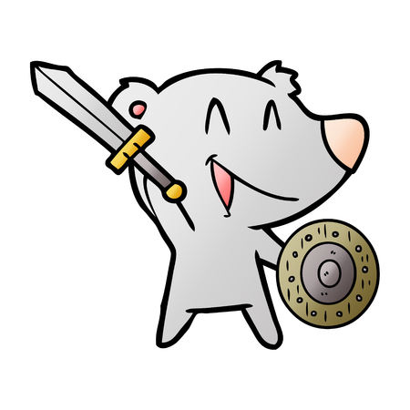 A laughing bear cartoon with sword and shield isolated on plain background.