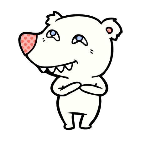 A polar bear cartoon isolated on plain background.