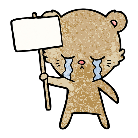 crying cartoon bear with sign post Illustration