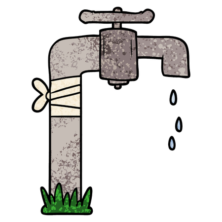 cartoon old water tap Ilustrace