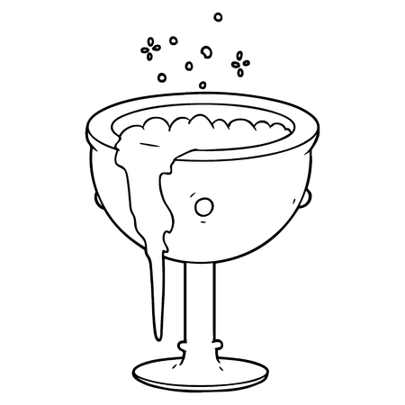 A cartoon magic goblet isolated on plain background. Illustration