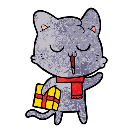 A cartoon cat with gift isolated on plain background.