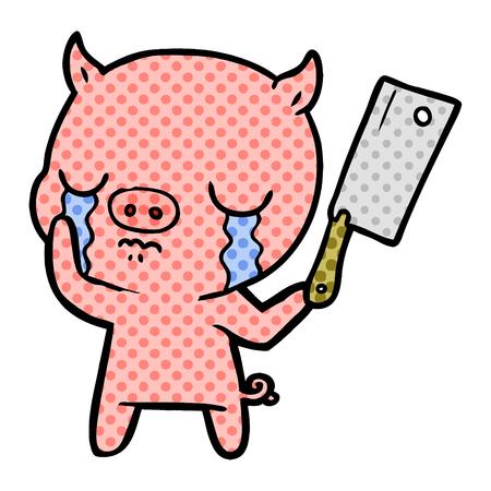 cartoon pig crying Illustration