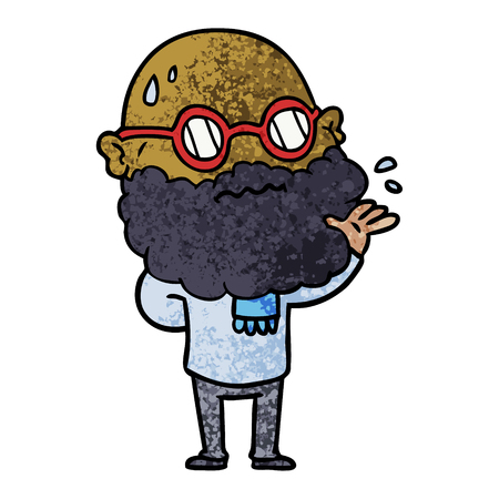 cartoon worried man with beard and spectacles Illustration