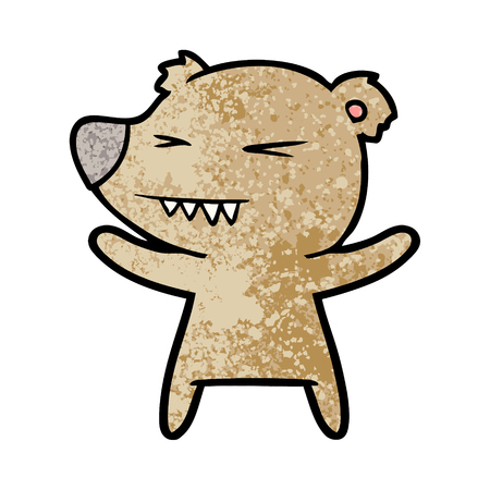 A bear cartoon chraracter isolated on plain background.