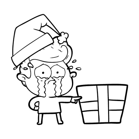 cartoon crying christmas boy 일러스트
