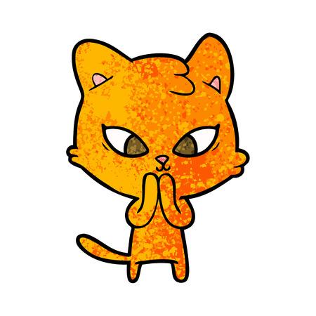 A cute cartoon cat isolated on plain background. Illustration