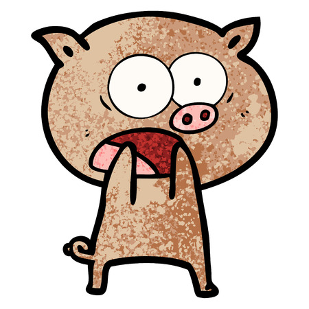 A cartoon pig shouting isolated on plain background. 向量圖像