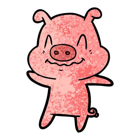 A nervous cartoon pig isolated on plain background. Иллюстрация