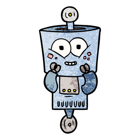 A happy cartoon robot isolated on plain background.