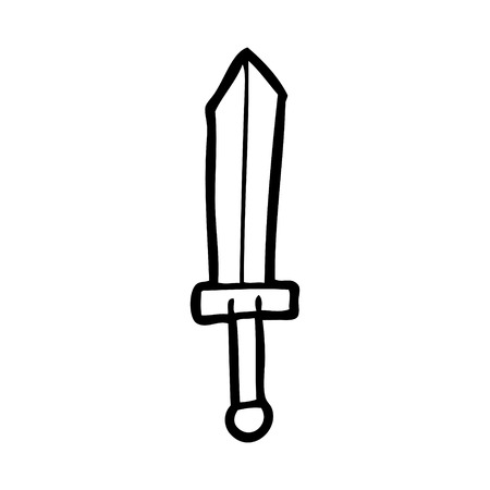 A cartoon sword isolated on plain background. Ilustração