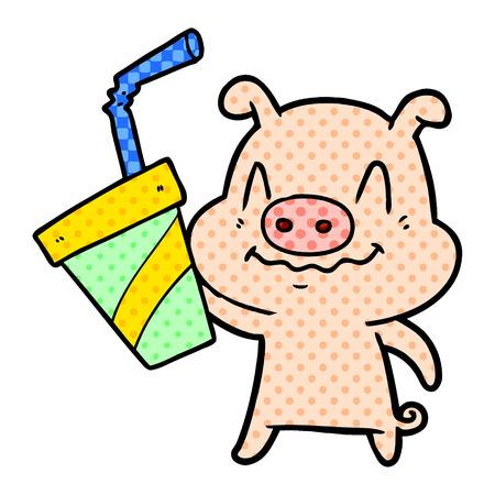プレーンな背景に隔離された巨大なソーダを持つ神経質な漫画の豚。  イラスト・ベクター素材