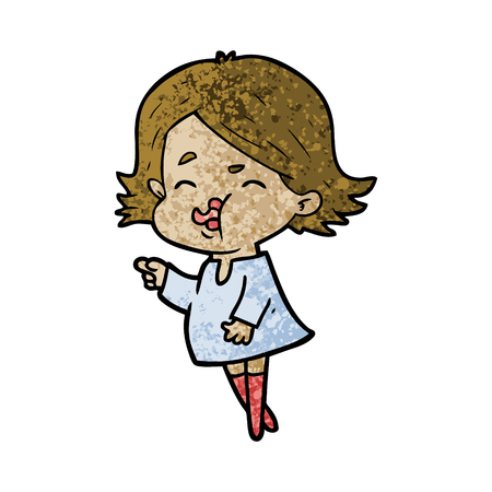 A cartoon girl pouting face isolated on plain background.