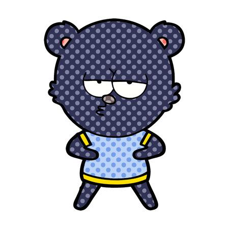 A bear cartoon character isolated on plain background.