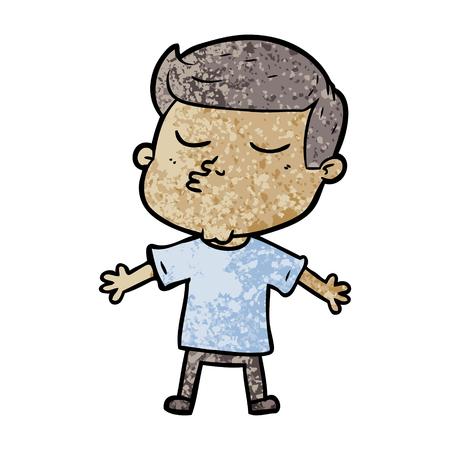 漫画モデルの男は、プレーンな背景に隔離されたパウティング。