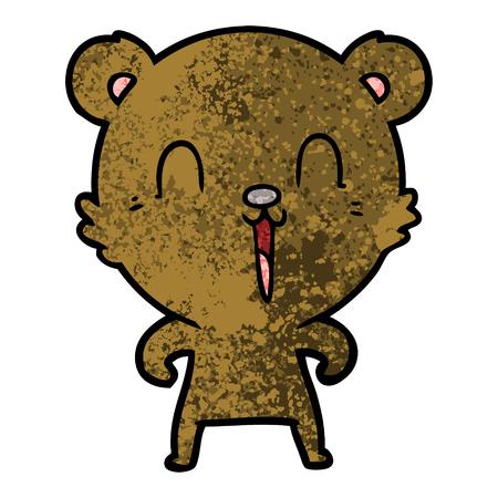 A happy cartoon bear isolated on plain background.