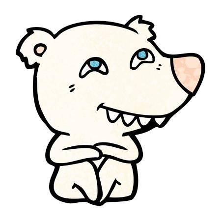 A cartoon polar bear showing teeth isolated on plain background.