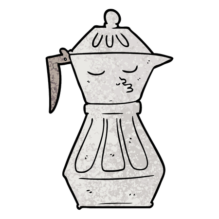 A cartoon coffee pot isolated on plain background. Illustration