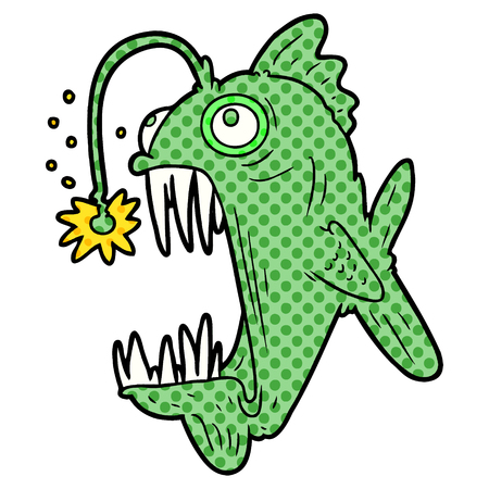 A cartoon lantern fish isolated on plain background.