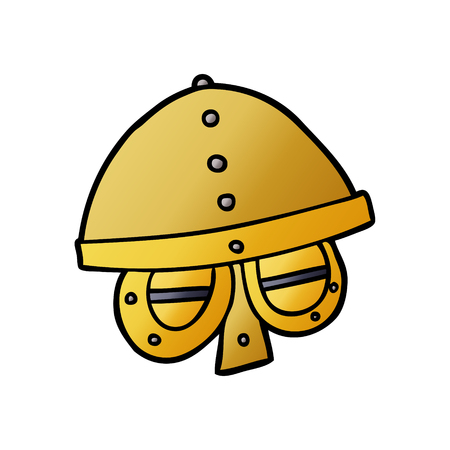 A cartoon medieval helmet isolated on plain background.