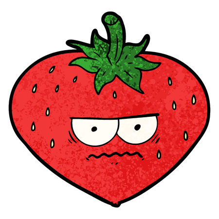 A cartoon strawberry isolated on plain background.
