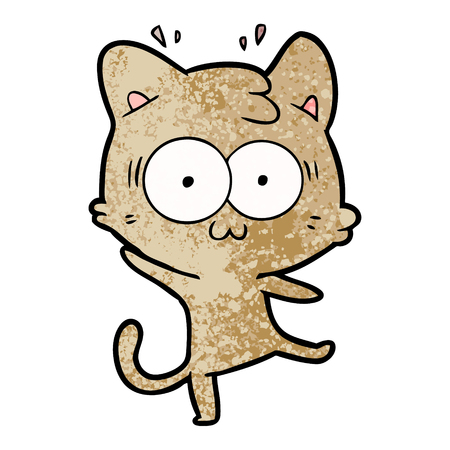 A cartoon surprised cat isolated on plain background.