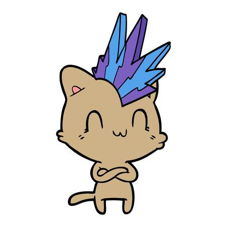 A cartoon happy cat punk isolated on plain background. 일러스트