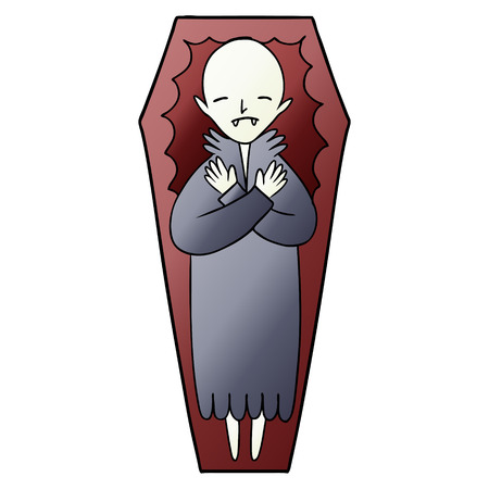 A spooky cartoon vampire in coffin isolated on plain background. Archivio Fotografico - 96635351