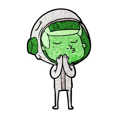 A cartoon confident astronaut isolated on plain background. Ilustrace