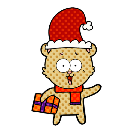 A laughing teddy bear with Christmas present isolated on plain background. Illustration