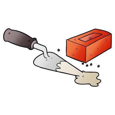 A laying bricks cartoon isolated on plain background.
