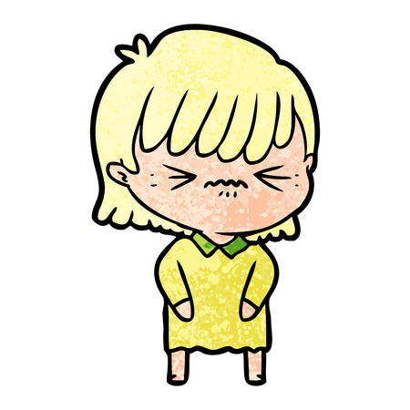 Annoyed cartoon girl isolated on plain background.