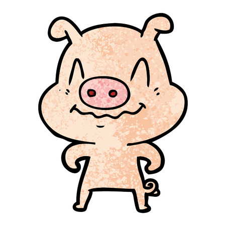 A nervous cartoon pig isolated on plain background. 向量圖像