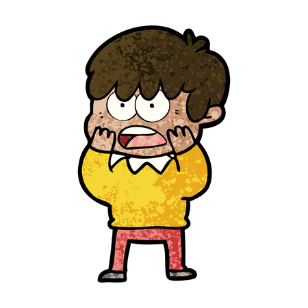 A worried cartoon boy isolated on plain background.