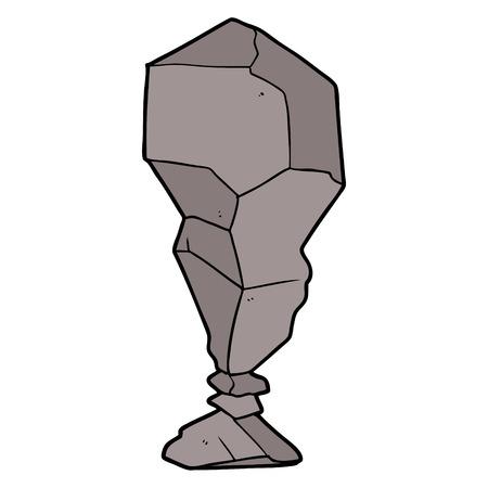 A cartoon balancing rock isolated on plain background.