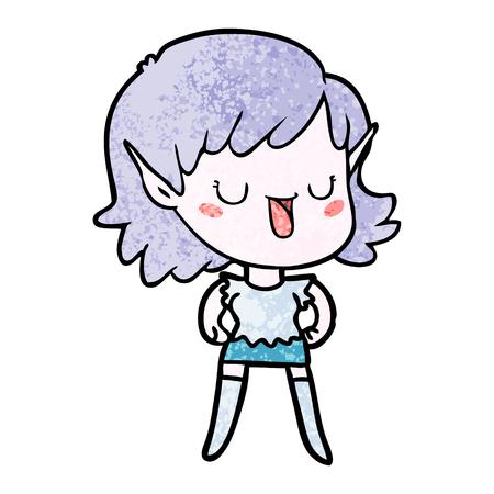 A cartoon elf girl isolated on plain background.