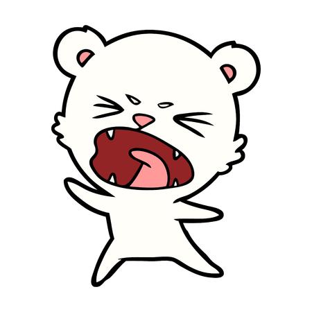 Angry polar bear cartoon isolated on plain background. Illustration