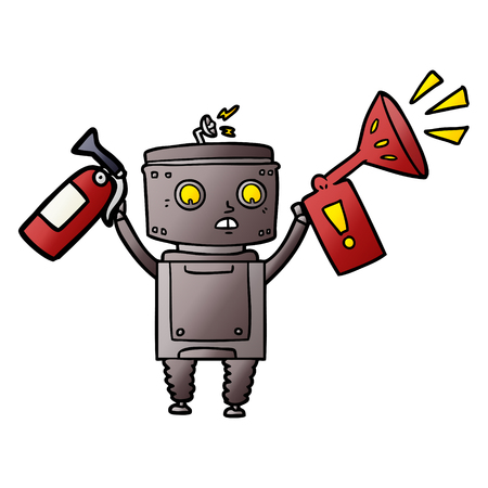 A cartoon robot isolated on plain background.