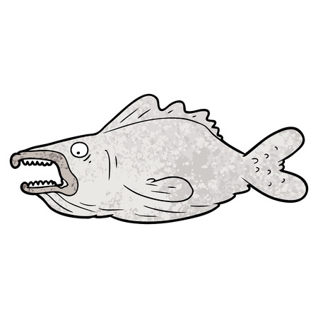 A cartoon ugly fish isolated on plain background. Иллюстрация