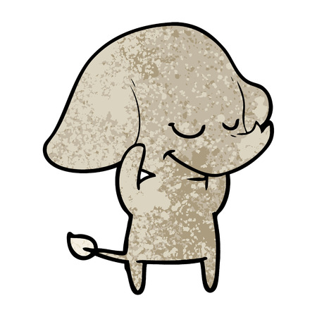 A cartoon smiling elephant isolated on plain background.