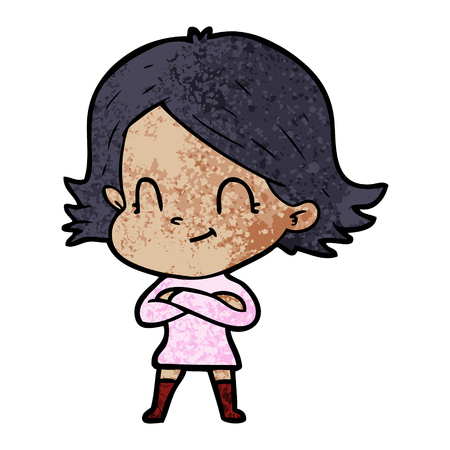 A cartoon friendly girl isolated on plain background.