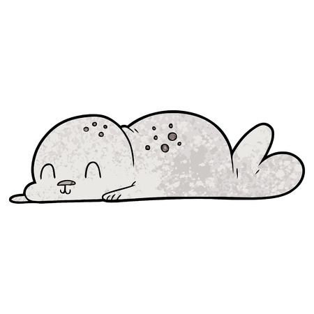 A cute cartoon seal pup isolated on plain background. Stock Illustratie