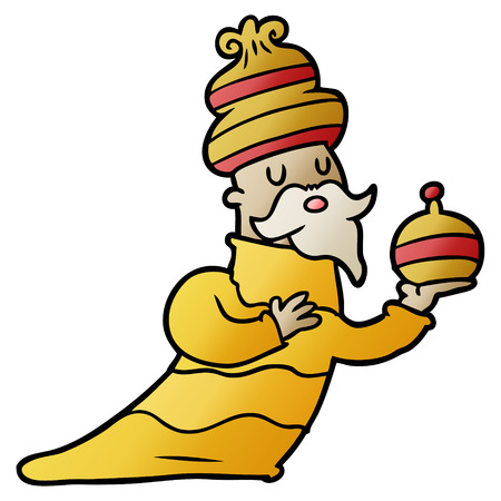 One of three wise men cartoon isolated on plain background.