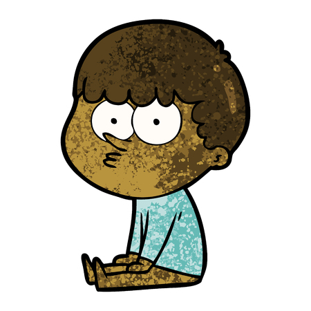 cartoon boy sat waiting Vector illustration.